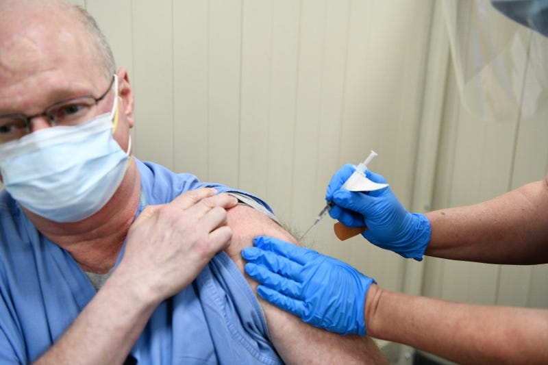 Kaleida Health doctors Shawn Covell receives first COVID-19 vaccine at hospital. December 14, 2020