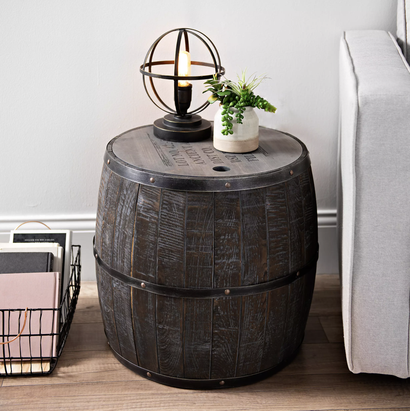 Short Whiskey Barrel Storage Accent Table