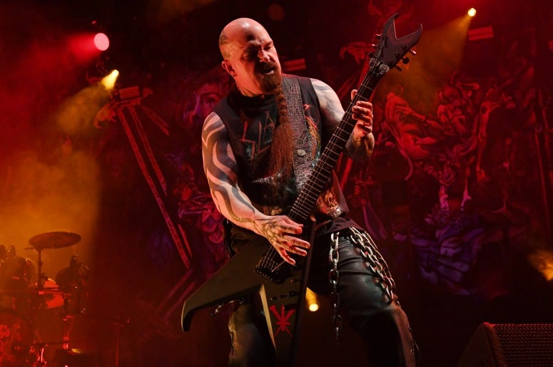 Guitarist Kerry King of Slayer performs during a stop of the band's Final World Tour at MGM Grand Garden Arena