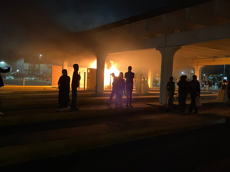 Protests Fire under bridge