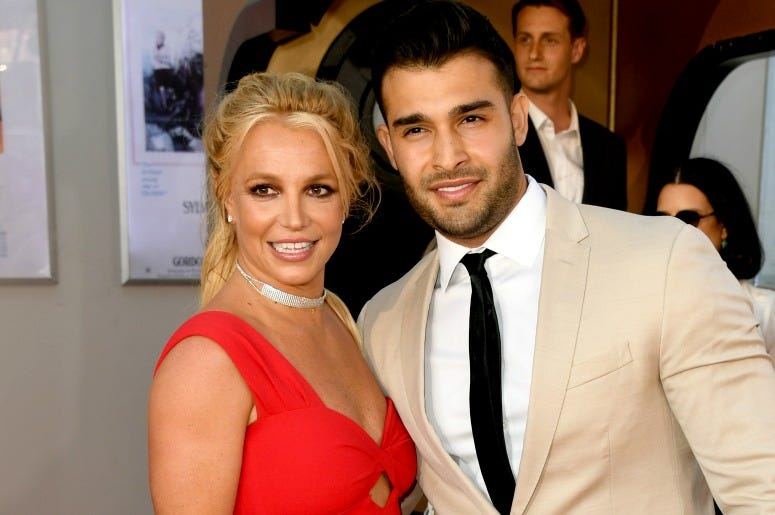 "Britney Spears and Sam Asghari arrive at the premiere of Sony Pictures' ""One Upon A Time...In Hollywood"" at the Chinese Theatre"