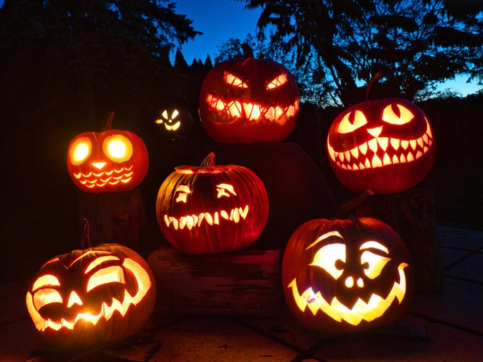 ScamsSpooky carved pumpkins