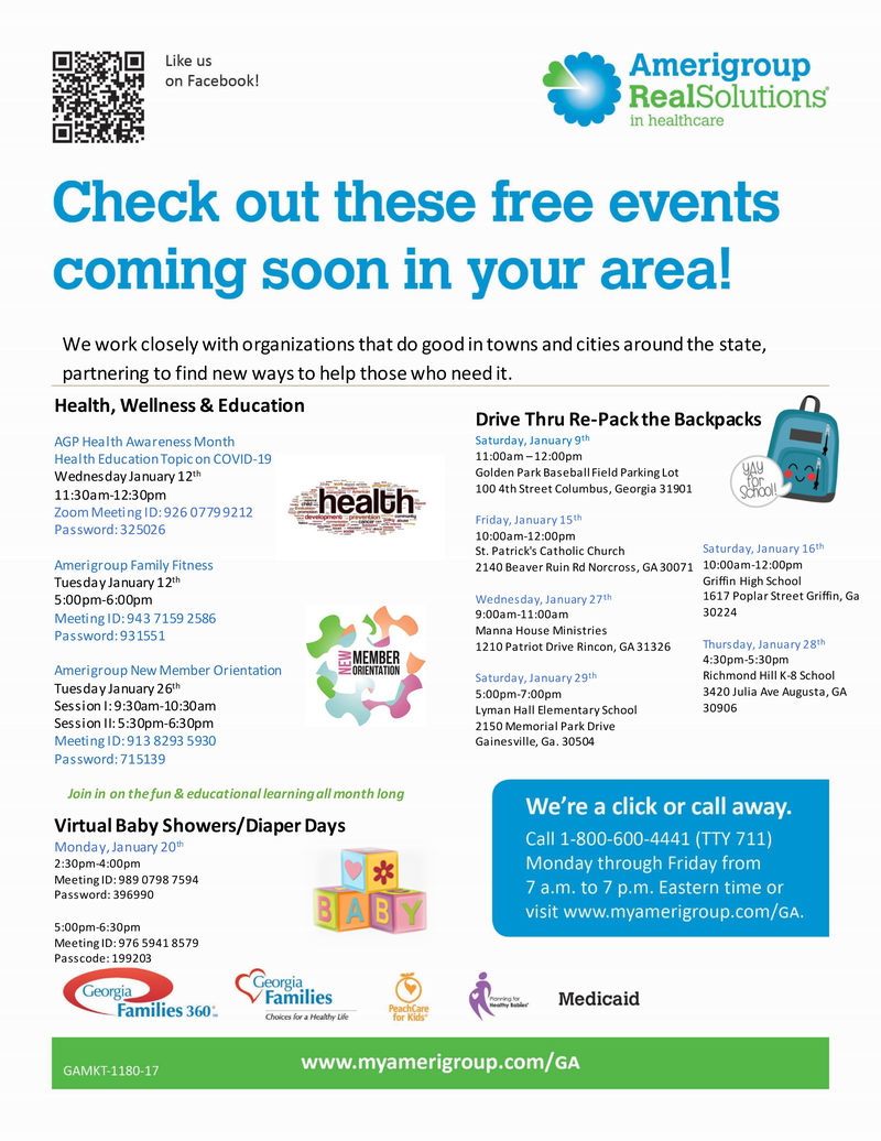 Amerigroup Community Care Events for January