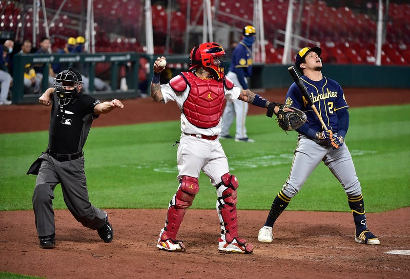 Sep 24, 2020; St. Louis, Missouri, USA; Milwaukee Brewers center fielder Avisail Garcia (24) reacts after being called out on strikes by umpire Dan Merzel during the ninth inning against the St. Louis Cardinals at Busch Stadium. Mandatory Credit: Jeff Curry-USA TODAY Sports