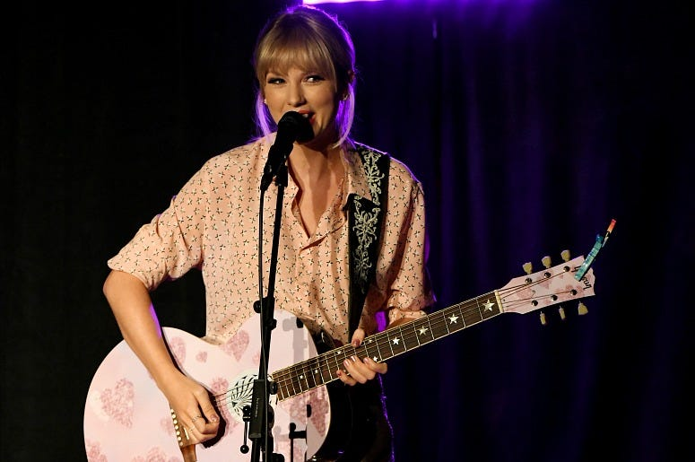 Taylor Swift performs at AEG and Stonewall Inn's pride celebration commemorating the 50th anniversary of the Stonewall Uprising.
