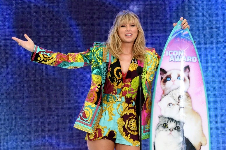 Taylor Swift accepts the Teen Choice Icon Award onstage during Fox's Teen Choice Awards at the Hermosa Beach Pier on August 11, 2019
