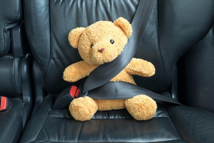 Teddy bear buckled into car