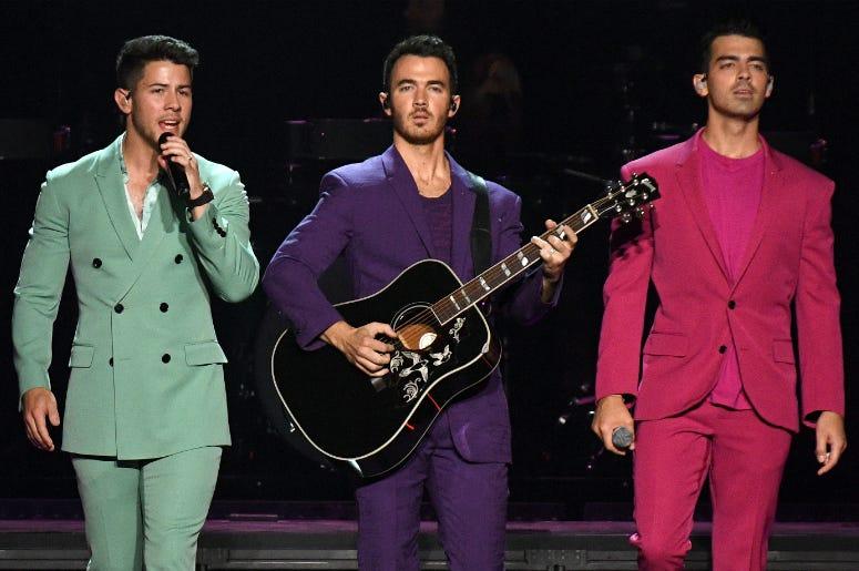 Nick Jonas, Kevin Jonas, and Joe Jonas of The Jonas Brothers perform in concert at Madison Square Garden