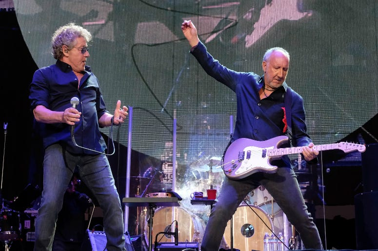 Roger Daltrey and Pete Townshend of The Who perform during Desert Trip