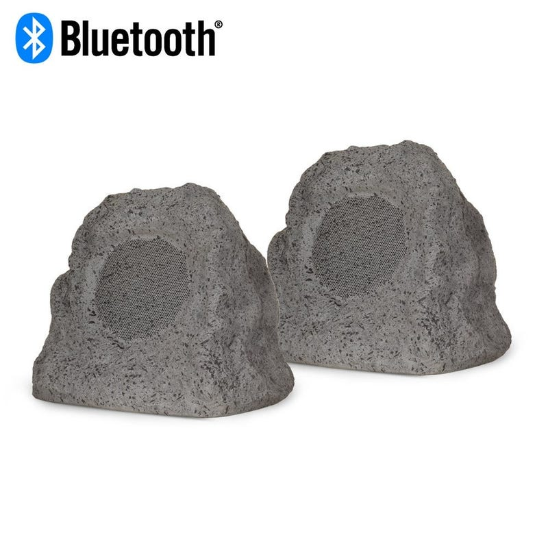 Theater Solutions Powered Bluetooth Outdoor Granite Rock Speaker