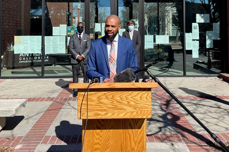 Antioch Mayor Lamar Thorpe introduces a series of police reform proposals at a news conference Monday.