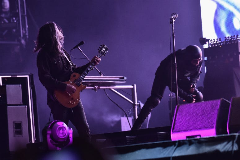 Adam Jones and Maynard Keenan of Tool perform onstage during the 2017 Governors Ball Music Festival
