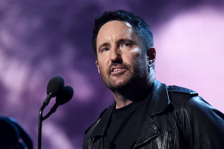 Trent Reznor introduces inductees The Cure onstage at the 2019 Rock & Roll Hall Of Fame Induction Ceremony