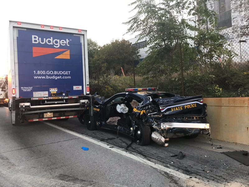 NYS Police car driven by Trooper Randi L. Murphy-Motley on September 26, 2020. Murphy-Motley suffered serious injuries and has since been released from ECMC