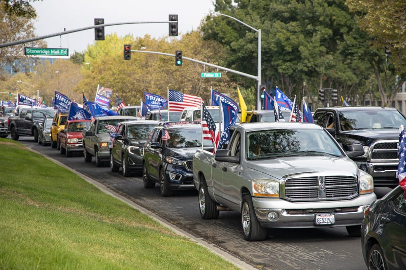 Trucks caravan in support of President Trump.