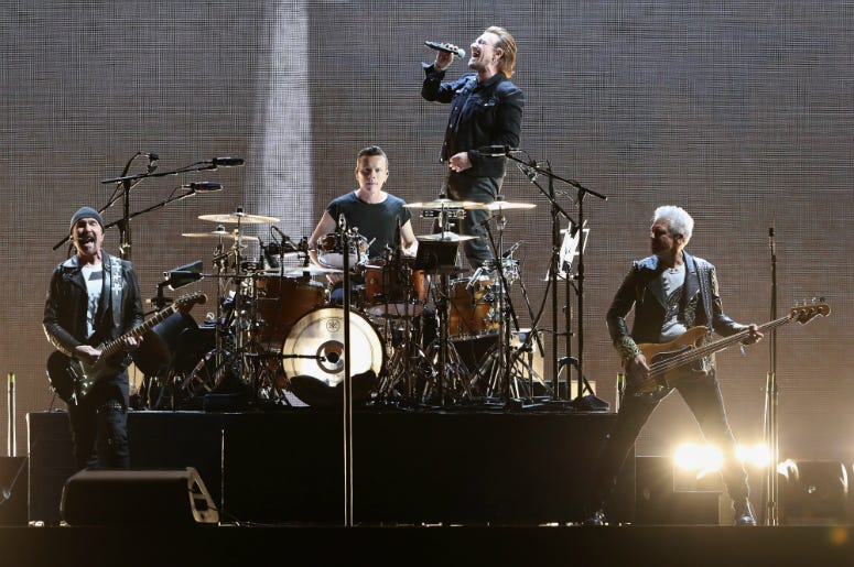 The Edge, Larry Mullen Jr, Bono and Adam Clayton of U2 perform during The Joshua Tree Tour 2017
