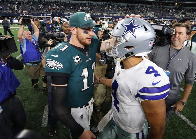 Carson Wentz and Dak Prescott will meet for the first time in 2019 on Sunday Night Football.