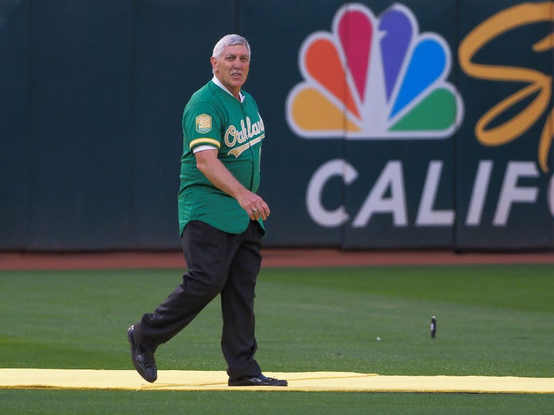 Oakland Athletics retired player Ray Fosse during a presentation to recognize the 50th anniversary team at Oakland Coliseum.