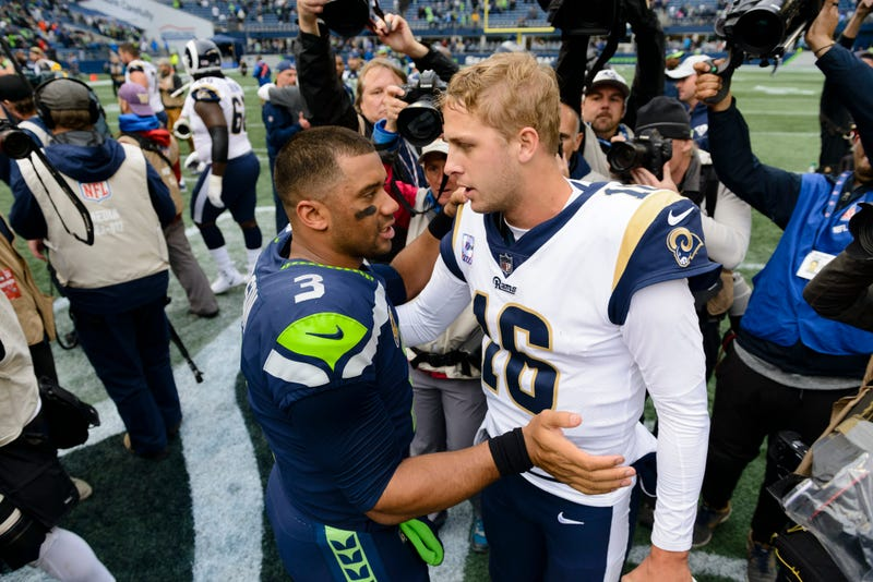Russell Wilson (left) and Jared Goff (right) will meet on Thursday Night Football.