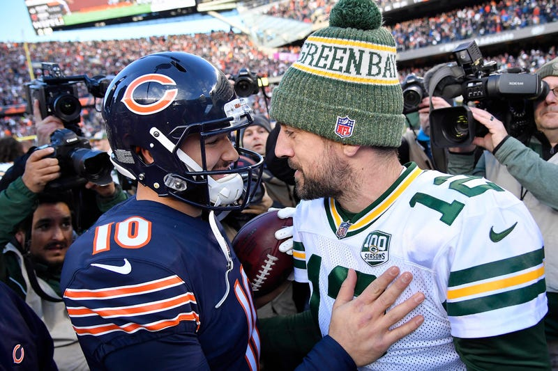 Mitchell Trubisky (left) and Aaron Rodgers (right) will square off in the first game of the 2019 NFL season.