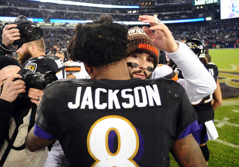 Baker Mayfield and Lamar Jackson will meet in Baltimore this weekend.