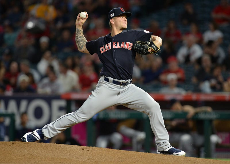 September 10, 2019; Anaheim, CA, USA; Cleveland Indians starting pitcher Zach Plesac (65) throws against the Los Angeles Angels during the first inning at Angel Stadium of Anaheim. Mandatory Credit: Gary A. Vasquez-USA TODAY Sports