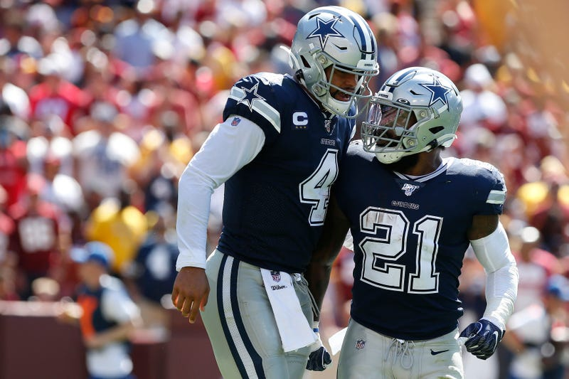 Dak Prescott (left) and Ezekiel Elliott (right) have the Cowboys at 2-0.