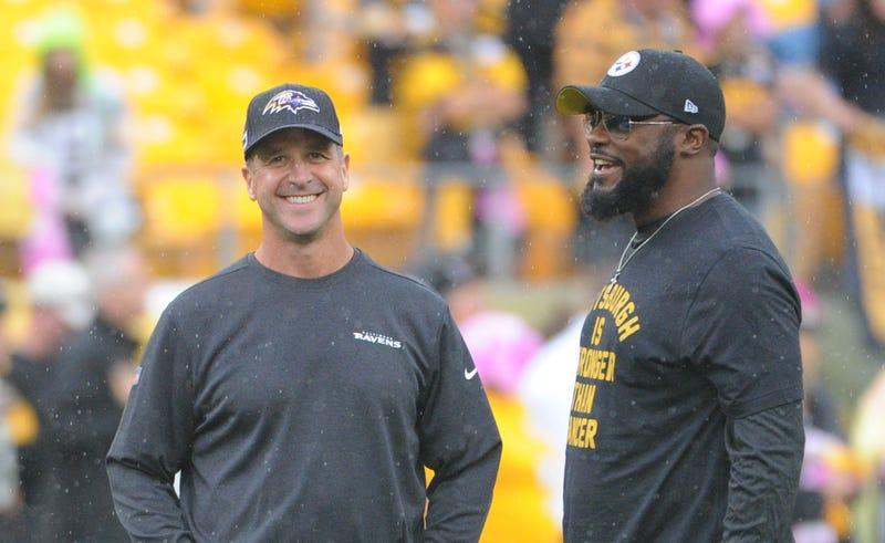 Ravens Head Coach John Harbaugh and Steelers Head Coach Mike Tomlin