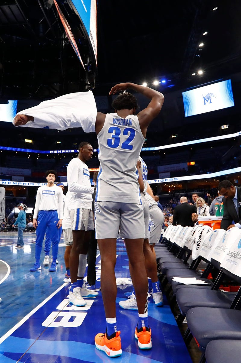 Memphis Tigers center James Wiseman before they take on the UIC Flames at the FedExForum on Friday, Nov. 8, 2019. Earlier in the week, Wiseman was declared ineligible by the NCAA.