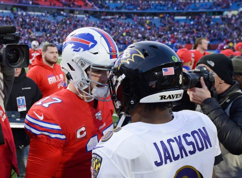 Bills QB Josh Allen and Ravens QB Lamar Jackson shake hands following the Ravens defeat of the Bills in December 2019.