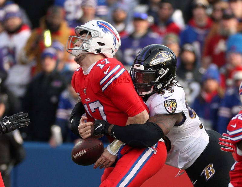 Ravens LB Matt Judon sacks Bills QB Josh Allen during a December 2019 matchup in Buffalo.