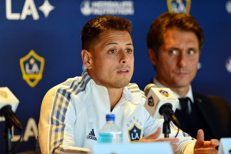 Los Angeles Galaxy player Javier Hernandez speaks to media following his introduction at Dignity Health Sports Park.