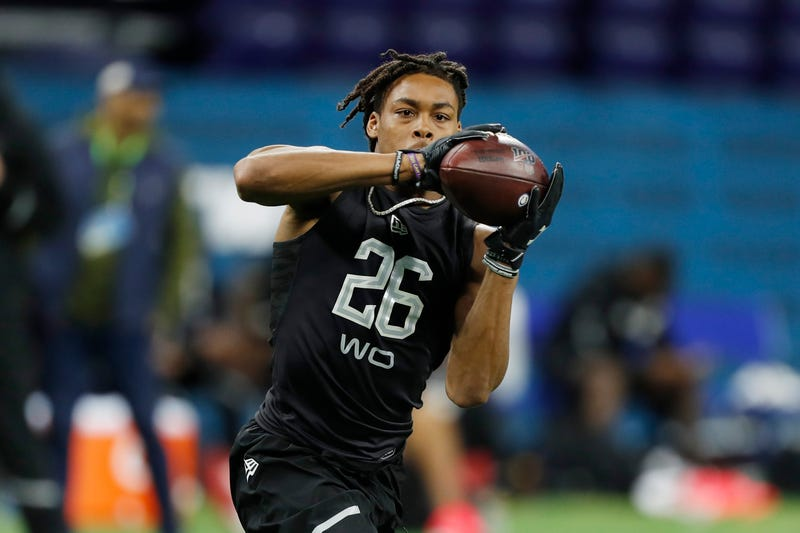 LSU's Justin Jefferson hauls in a catch at the NFL Combine in Indianapolis