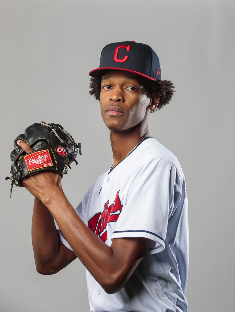 Cleveland Indians pitcher Triston McKenzie poses for a portrait during media day at the Indians training facility.