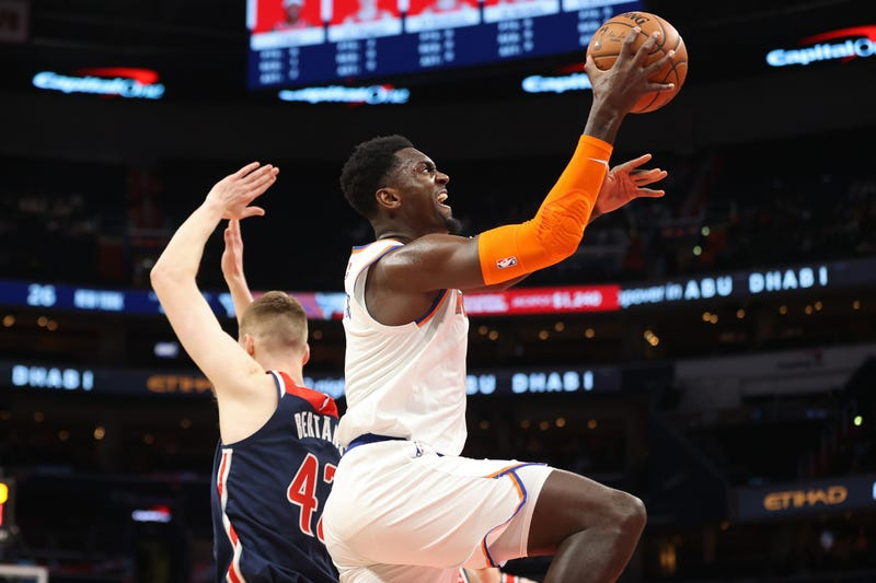 Bobby Portis aggressively approaches the rim with the Knicks