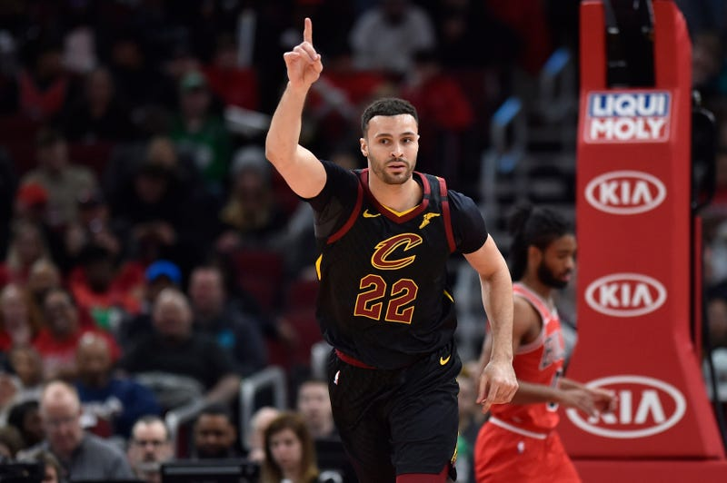 Mar 10, 2020; Chicago, Illinois, USA; Cleveland Cavaliers forward Larry Nance Jr. (22) reacts after scoring against the Chicago Bulls at United Center.