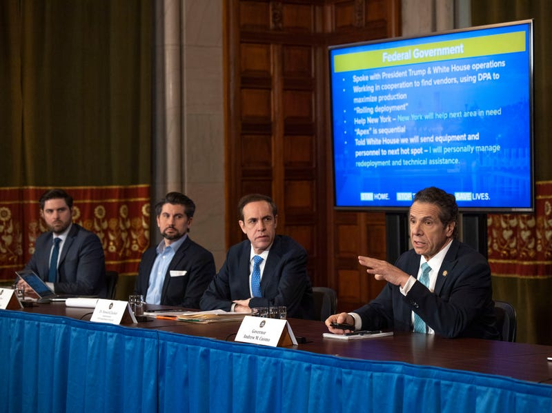 File photo: Gov. Andrew M. Cuomo provides a coronavirus update during a press conference in the Red Room at the State Capitol in Albany on March 25, 2020