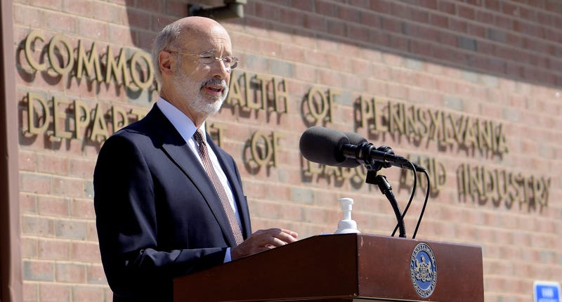 Gov. Tom Wolf speaks during his press conference at PA CareerLink in York Tuesday, July 28, 2020.