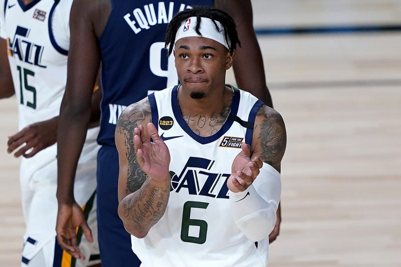 Utah Jazz's Rayjon Tucker (6) likes the call during the second half of the NBA basketball game at AdventHealth Arena.