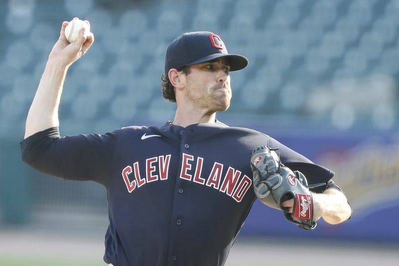 Aug 15, 2020; Detroit, Michigan, USA; Cleveland Indians starting pitcher Shane Bieber (57) pitches during the first inning against the Detroit Tigers at Comerica Park. Mandatory Credit: Raj Mehta-USA TODAY Sports