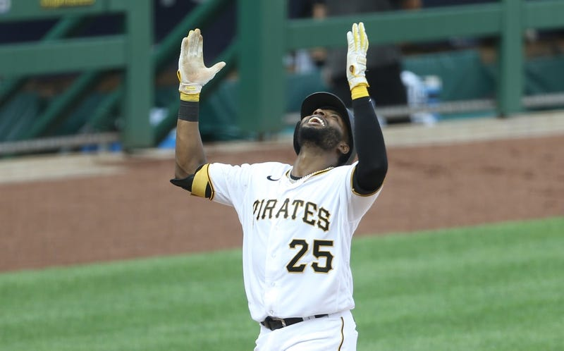 Gregory Polanco with both hands up