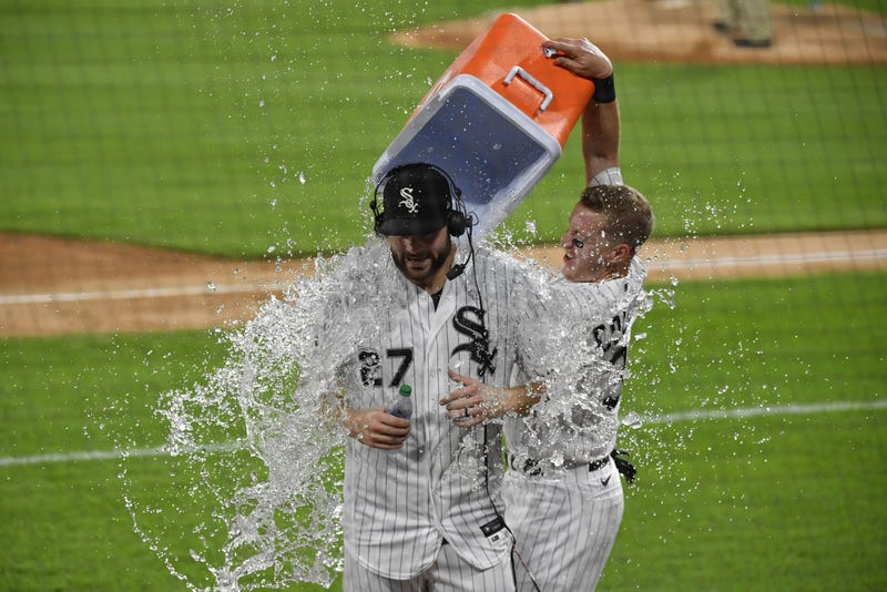 Chicago White Sox starting pitcher Lucas Giolito (27) doused with water after his no hitter against the Pittsburgh Pirates at Guaranteed Rate Field.