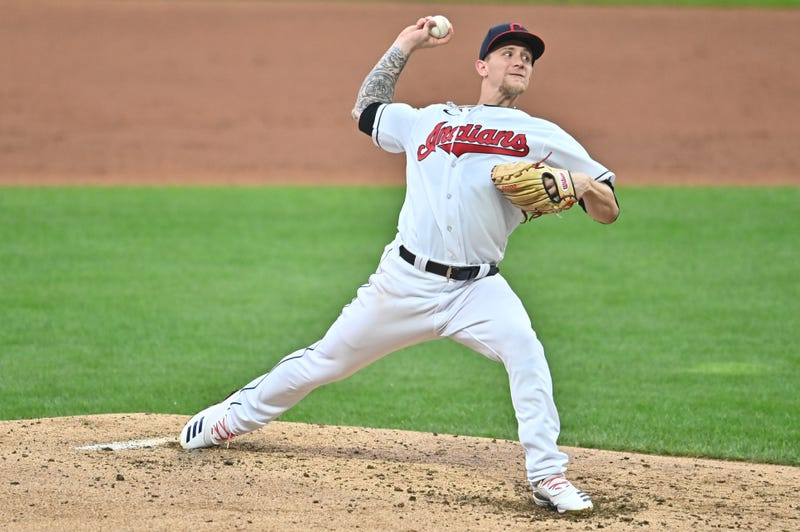 Sep 7, 2020; Cleveland, Ohio, USA; Cleveland Indians starting pitcher Zach Plesac (34) throws a pitch during the third inning against the Kansas City Royals at Progressive Field. Mandatory Credit: Ken Blaze-USA TODAY Sports