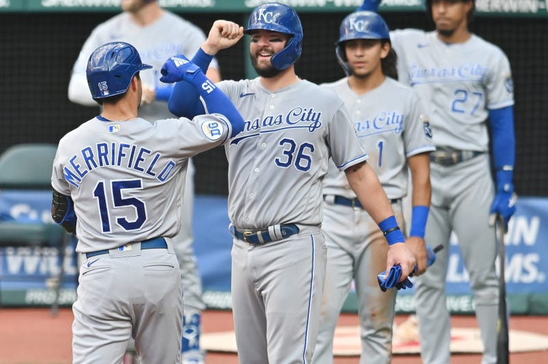 Kansas City Royals right fielder Whit Merrifield (15) celebrates with catcher Cam Gallagher (36) after hitting a three-run home run during the third inning against the Cleveland Indians at Progressive Field.