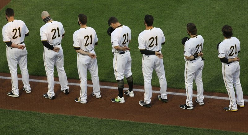 The Pittsburgh Pirates stand for the national anthem before playing the Chicago White Sox at PNC Park.