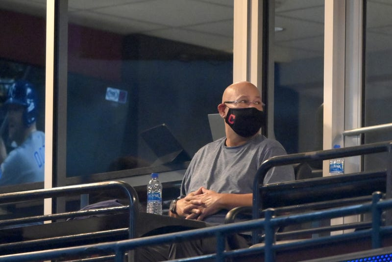 Cleveland Indians manager Terry Francona watches from a suite during a game against the Kansas City Royals at Progressive Field.