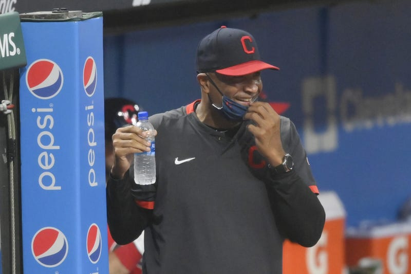 Cleveland Indians acting manager Sandy Alomar Jr. reacts in the eighth inning against the Kansas City Royals at Progressive Field.
