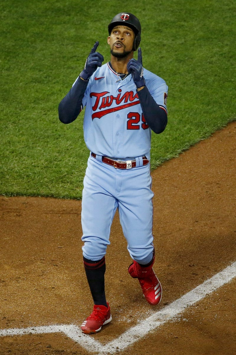 Minnesota Twins center fielder Byron Buxton (25) celebrates his two run home run against the Cleveland Indians in the fourth inning at Target Field.