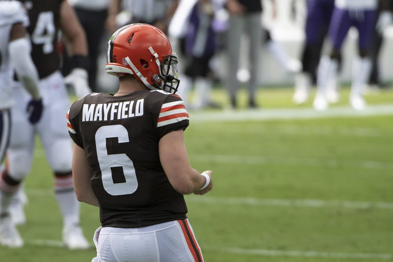 Cleveland Browns quarterback Baker Mayfield on the field during the first half against the Baltimore Ravens at M&T Bank Stadium.