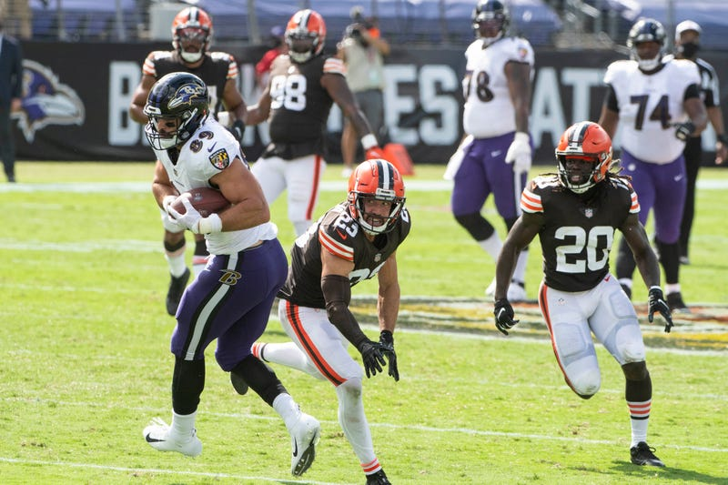 Sep 13, 2020; Baltimore, Maryland, USA; Baltimore Ravens tight end Mark Andrews (89) catches in front of Cleveland Browns safety Andrew Sendejo (23) during the first half at M&T Bank Stadium.